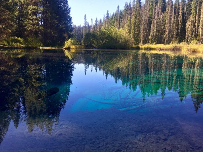 Deep blue and green water of Little Crater Lake