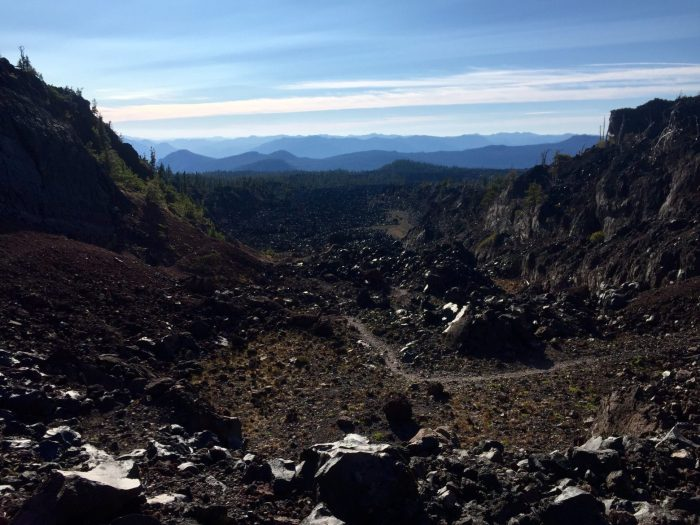 PCT snaking through nothing but lava rock