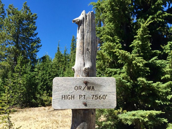 Sign marking the high point of the trail in Oregon and Washington