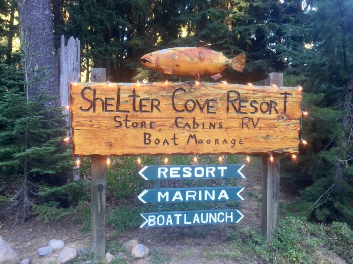 Shelter Cove Resort welcome sign