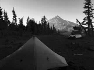 Looking over a tent at Mount Jefferson