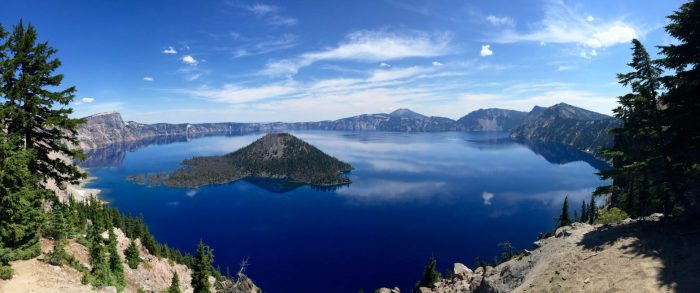 Wizard Island rising from the sapphire blue waters of Crater Lake