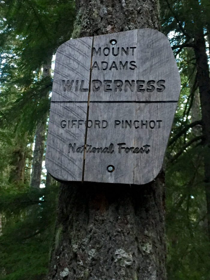 Sign marking boundary of Mount Adams Wilderness
