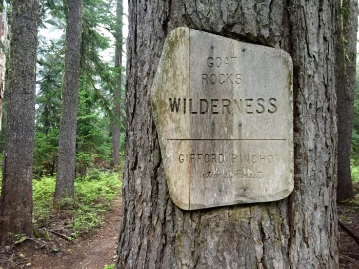 Sign marking boundary of Goat Rocks Wilderness area