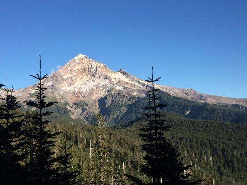 Mount Hood piercing a brilliant blue sky