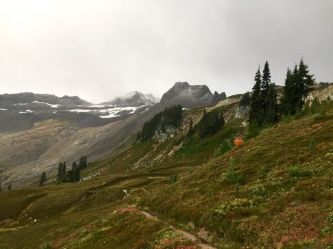 Hiking through a rainy morning on the north side of Glacier Peak