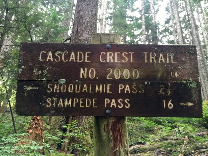 Old Cascade Crest Trail sign