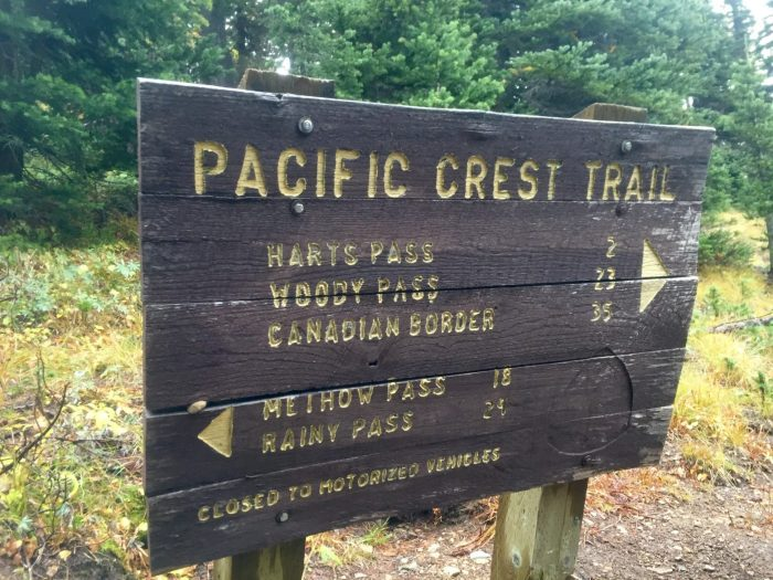 Pacific Crest Trail sign near Harts Pass
