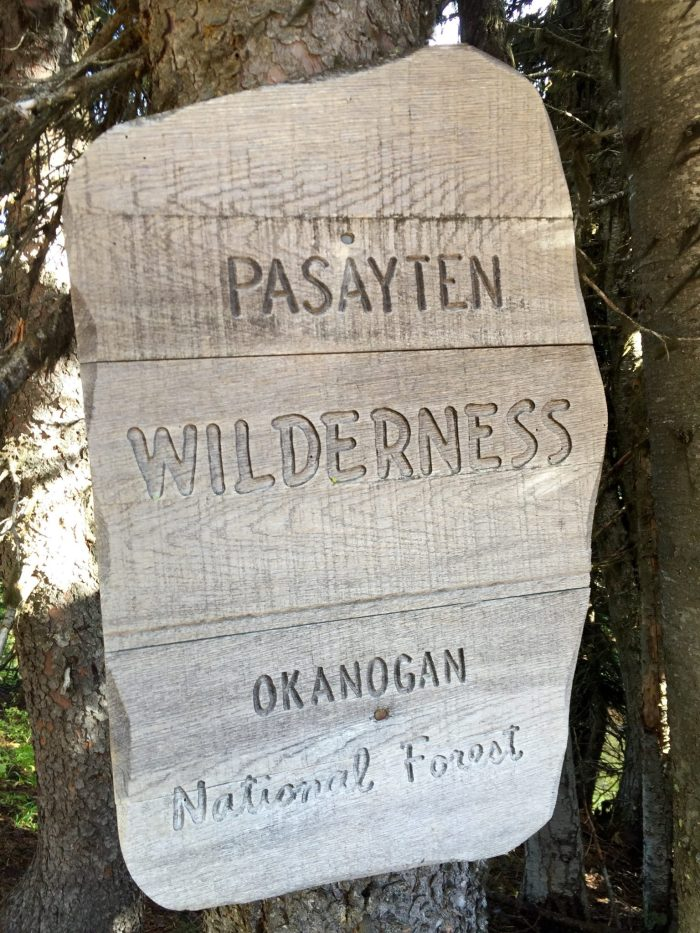 Sign marking the boundary of the Pasayten Wilderness