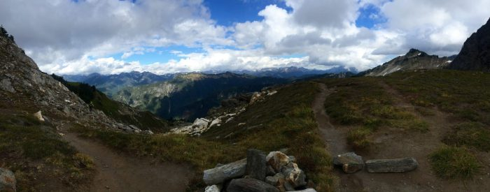 Panoramic view of North Cascades from Pass high above Mica Lake