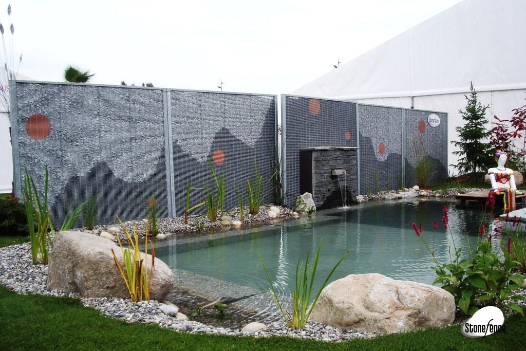 Photos panneaux modulaires gabion pour piscines stonefence for Amenagement exterieur piscine