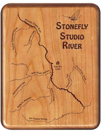Custom Designed New River Map Fly Box
