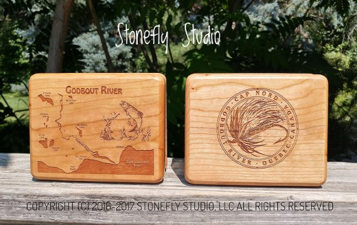 Godbout River Map Fly Box with Custom Logo