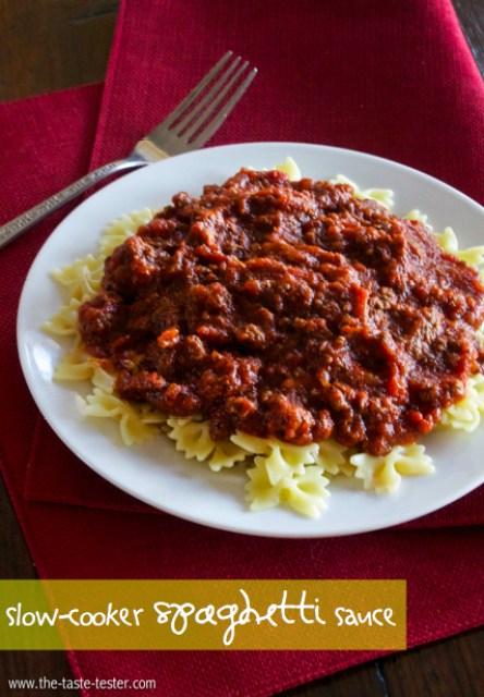 Slow-Cooker Spaghetti Sauce #recipe #slowcooker www.the-taste-tester.com