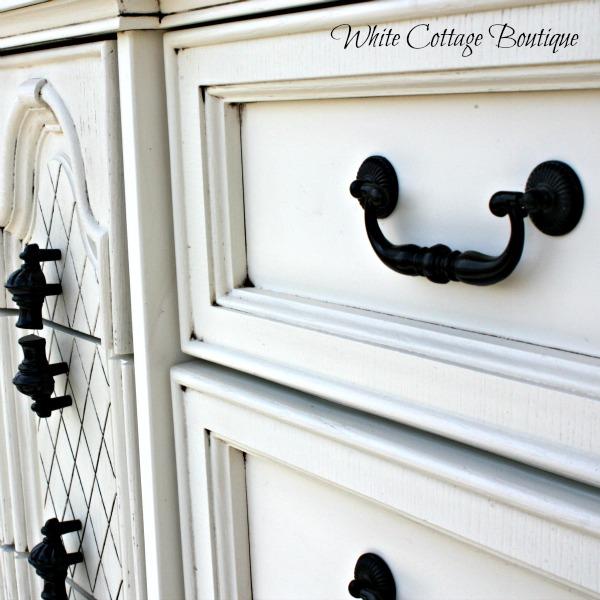 White Glazed Dresser Details