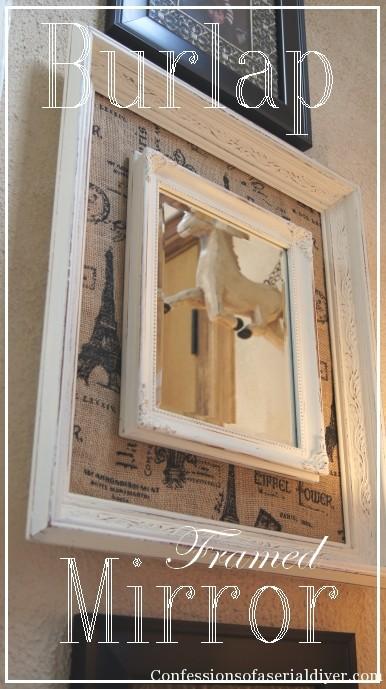 diy burlap framed mirror