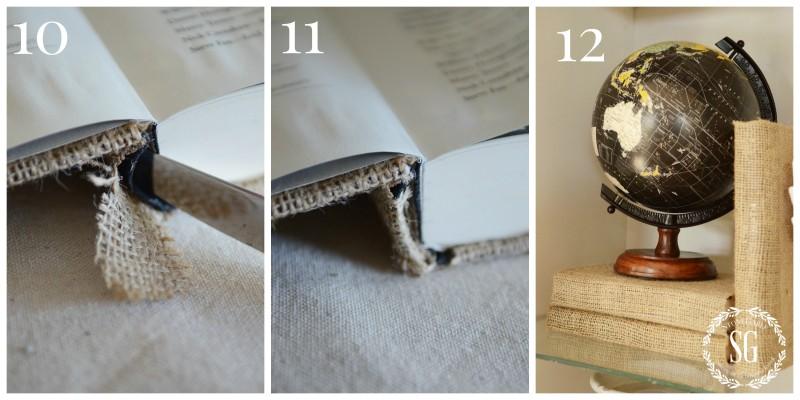 Burlap Covered Book-Collage 10,11,12-stonegableblog