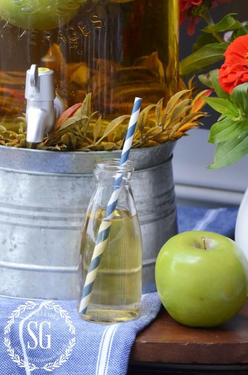 FALL DRINK STATION-cute little bottle-blue straws-stonegableblog.com