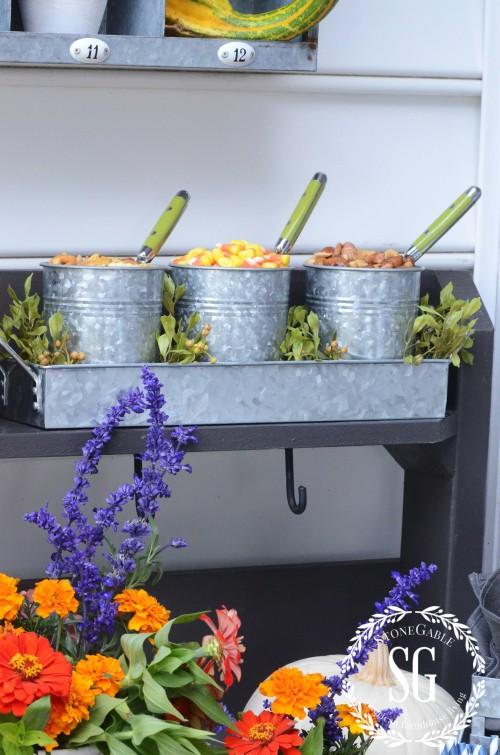 FALL DRINK STATION-galvanized snack buckets-stonegableblog.com
