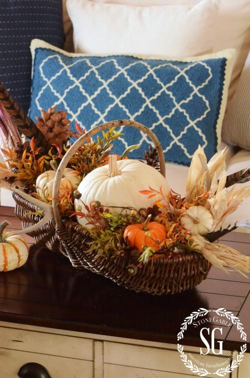 FALL HOME TOUR-basket-pumpkins-stonegableblog.com