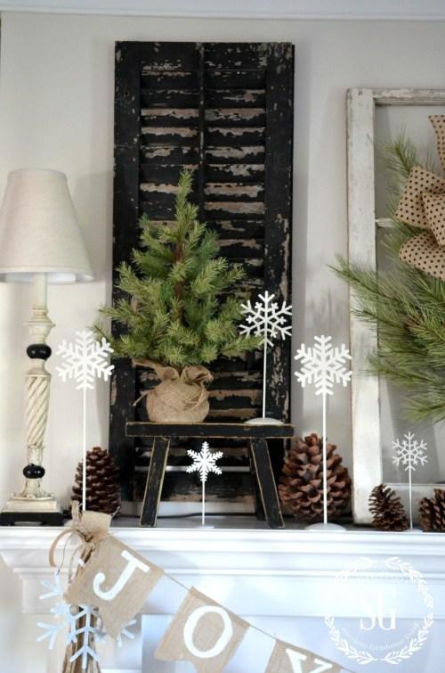 CHRISTMAS FARMHOUSE MANTEL-pine tree-black chippy bench-snowflakes-stonegableblog.com