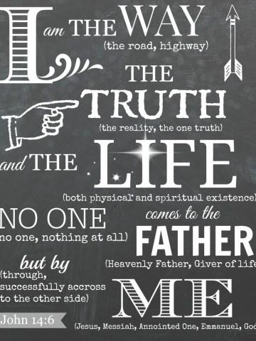 JOHN 14:6 CHALKBOARD PRINTABLE ART