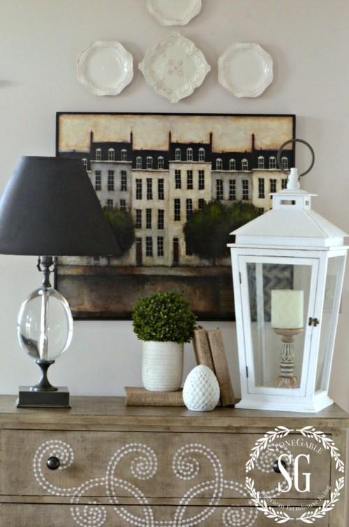 LOVING LANTERS-lantern on a cabinet-stonegableblog.com
