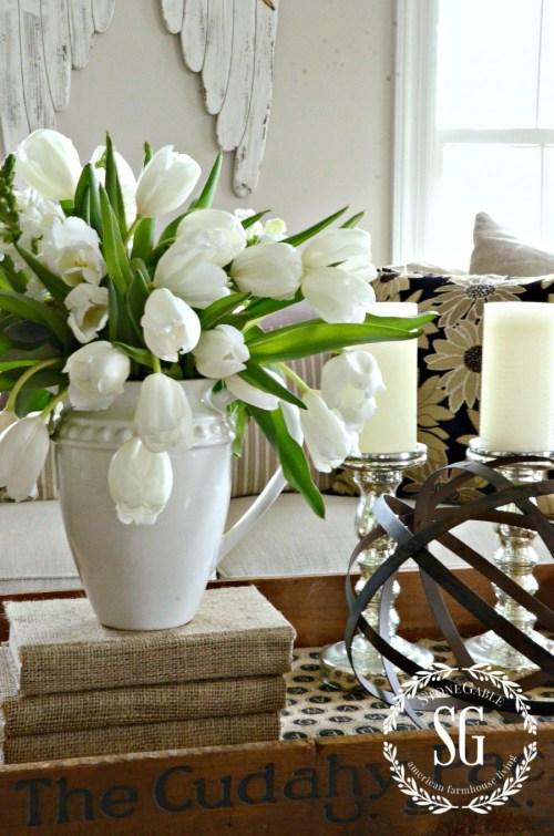 SPRING FLING-white tulips-stonegableblog.com