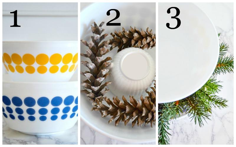 CHRISTMAS STACKING BOWL ARRANGEMENT DIY- An easy, anyone-can-do-this fabulous Christmas arrangement