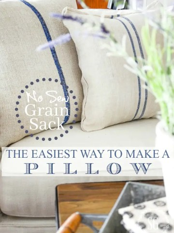 THE EASIEST NO SEW GRAIN SACK PILLOW DIY
