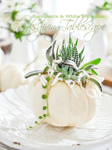SUCCULENTS AND WHITE PUMPKIN THANKSGIVING TABLESCAPE