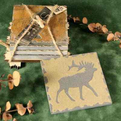 Natural Slate Stone Quarry Coaster Set -Elk Design