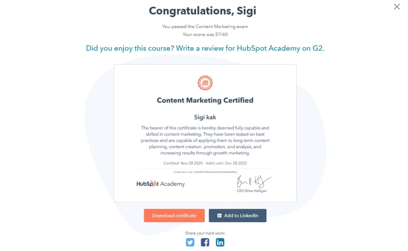 Hubspot Content Marketing Final exam Course Answers