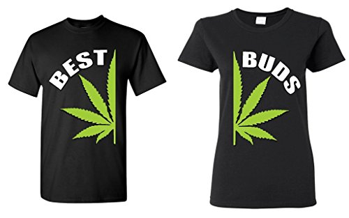 Couple's Matching Best Buds Pot Leaf T-shirts