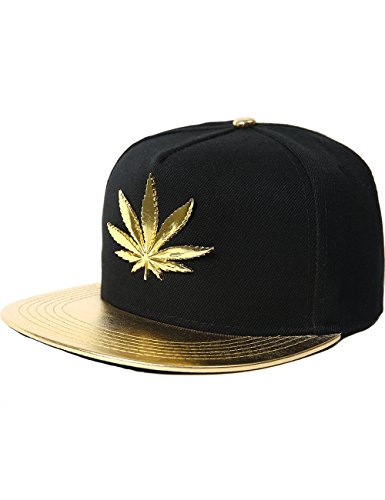 Adjustable Gold Marijuana Leaf Cap