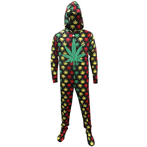 Rasta Themed Ganja Leaf Footie Pajamas