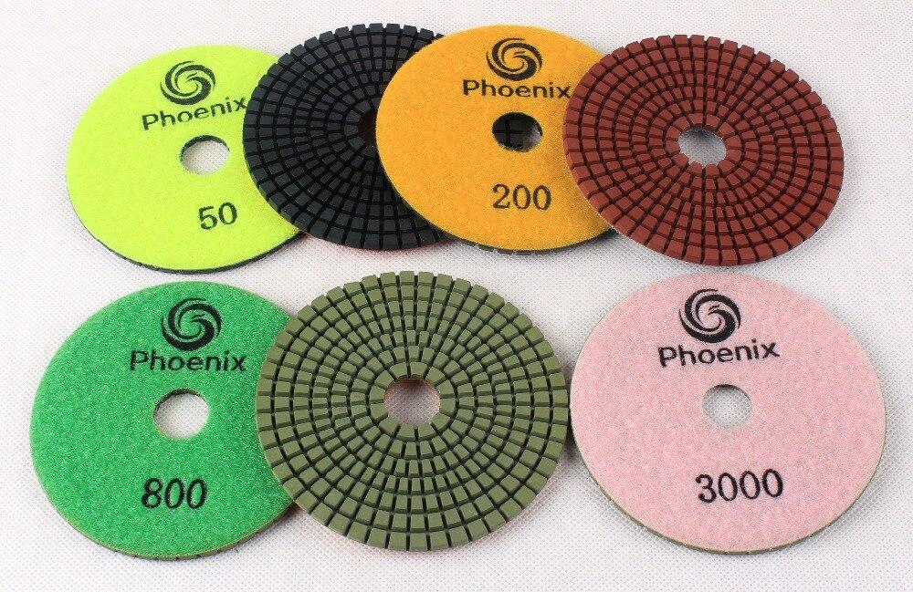 "Flexible diamond polishing pads set with aluminum backer pad marble granite stone wet/dry abrasive sanding disc - 4""/100 mm"