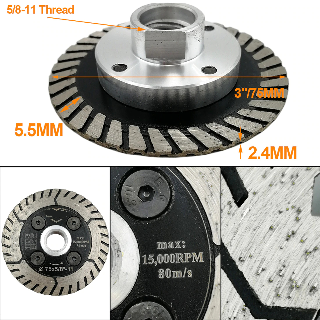 Diamond Dual Cutting Wheel Saw Blades Grinding Disc for Grind Sharpen Granite Marble Concrete M14 or 5/8-11 | 1pc | Dia 75/115/125mm