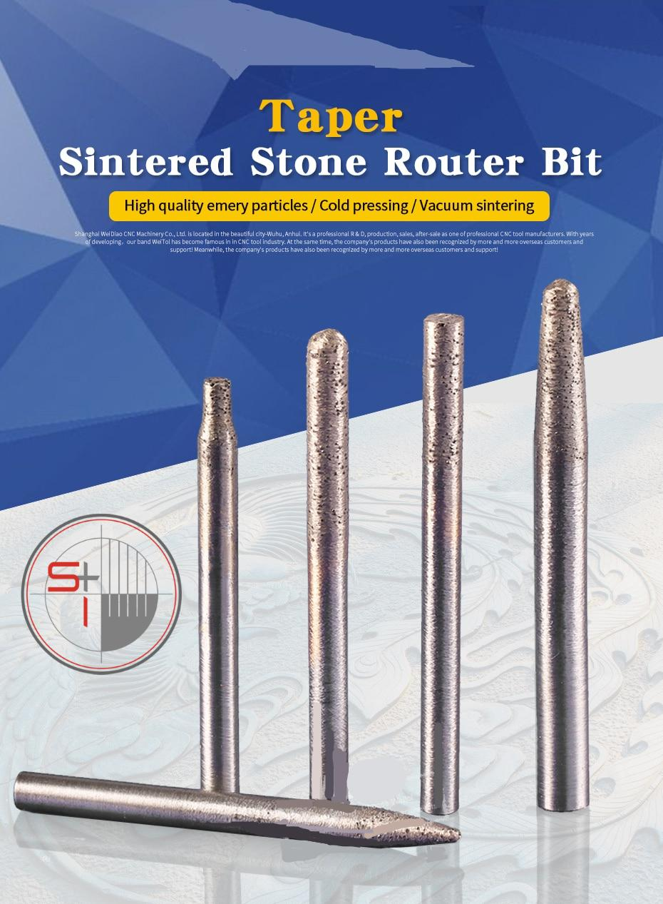 Sintered Stone Router Bit diamond CNC carving tools milling cutter for granite - 6mm/8mm shank