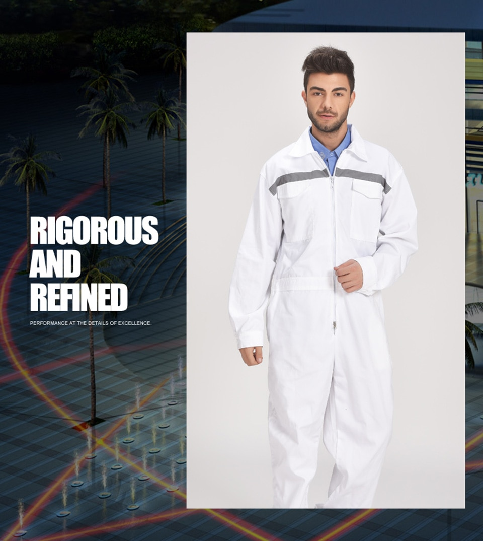 Mechanic Men Long Sleeve Work Coverall Working Uniforms With Reflective Stripes