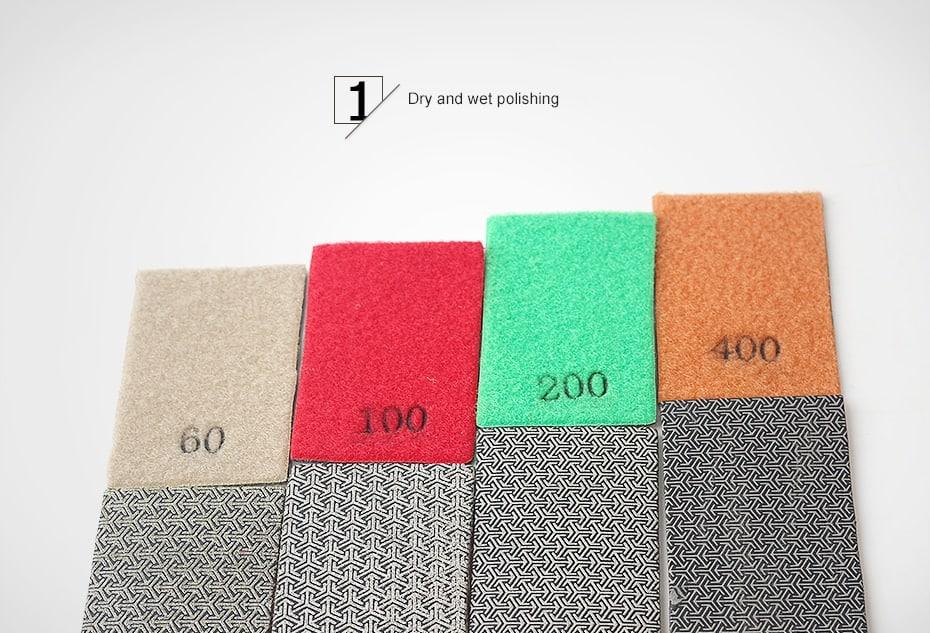 Electroplated 90* 55mm hand polishing pads for stone diamond abrasive pads