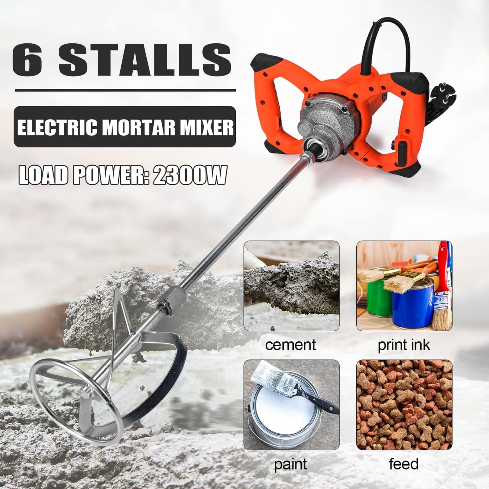 2300W Industrial Grade Mixer 6Gear Adjustable Speed Paint Cement Plaster Mortar Coating Mixer Putty Powder Mixing Machine