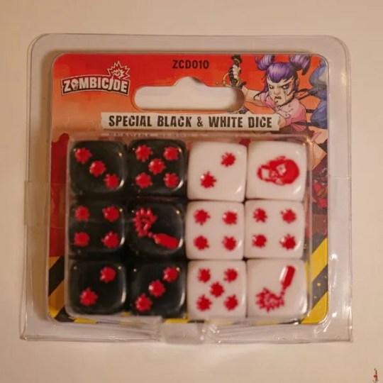 zombicide 2e black white dice front