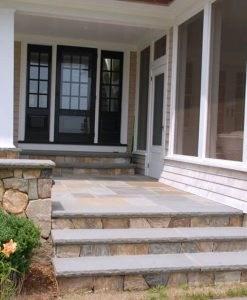 Stone Steps Treads Bluestone Granite Stonewoodproducts Com | Exterior Stone Stair Treads | Stone Slab | Grey Flagstone Step | Solid Weathered | Carpet Metal Rail Wood Cap | Brick