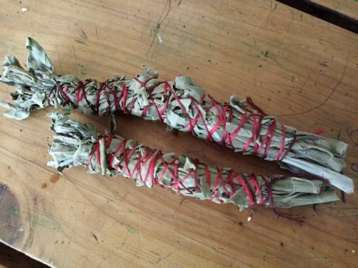 White sage smoke cleansing wands