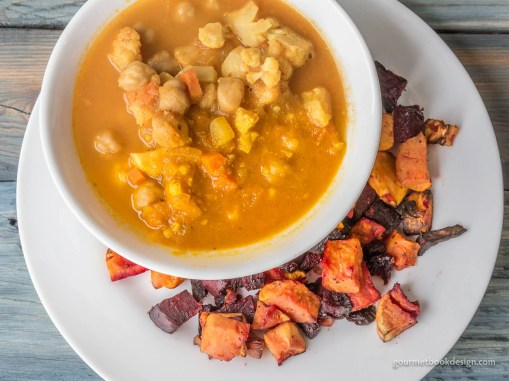 Soup: Curried cauliflower & garbanzo; Veggie: Roasted beet & sweet potato