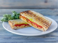 Roasted red pepper soy curl panini w/#avocado & wilted kale