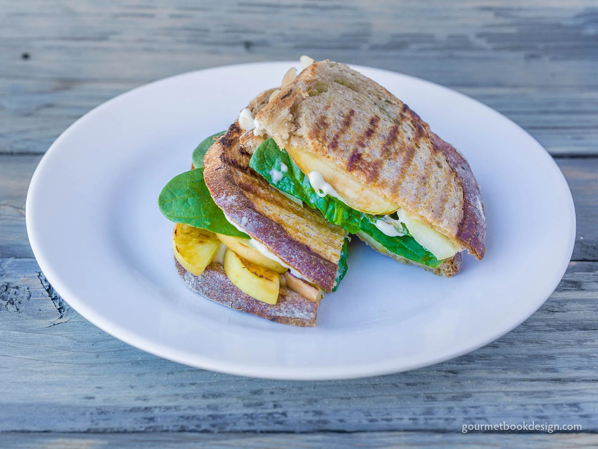 Grilled apple panini w/spinach & cashew cheese on green chile sourdough