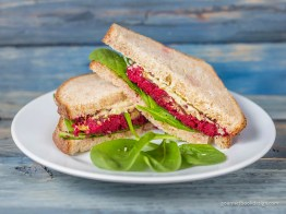 Beet buger with spinach and green chile cashew cheese on Bosque Baking sourdough