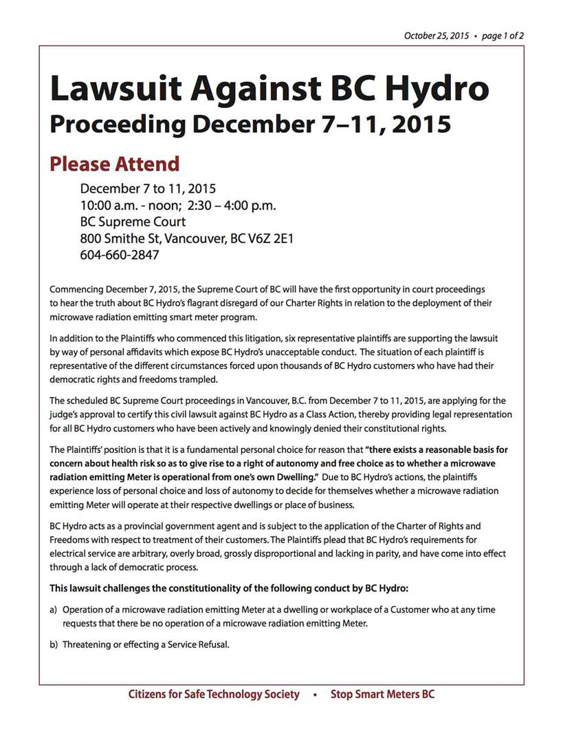 Class Action Lawsuit | Coalition to Stop Smart Meters in BC